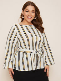 SHEIN Plus Striped Lantern Sleeve Belted Top