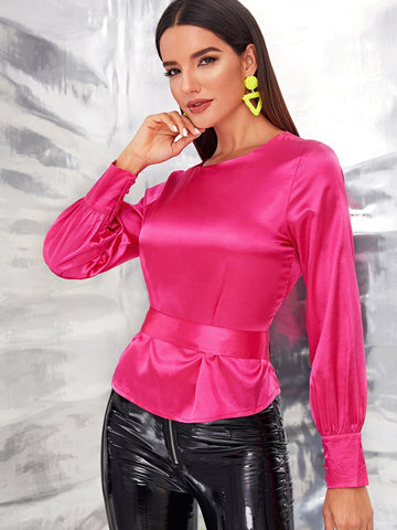 SHEIN Neon Pink Tied Open Back Satin Top