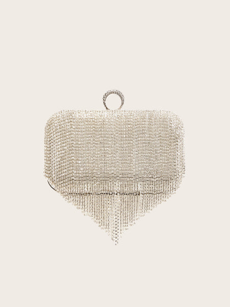 Rhinestone Decor Fringe Clutch Bag
