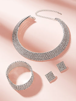 Rhinestone Decor Choker & Earrings & Bracelet 4pcs