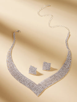 Geometric Shaped Rhinestone Engraved Necklace & Earrings 3pcs