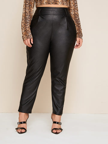 Plus PU Tapered Wide Band Waist Pants