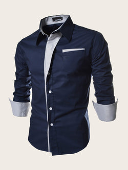 Men Striped Button Front Shirt