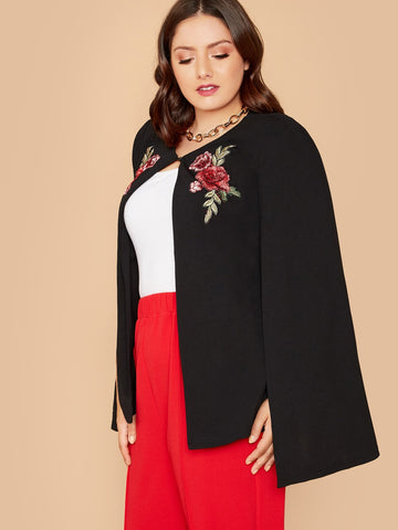 SHEIN Plus Embroidery Front Cape Blazer