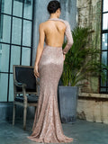 LOVE&LEMONADE Asymmetrical Neck Backless Sequin Dress