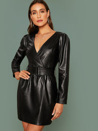 SHEIN Surplice Neck Zipper Back Belted PU Dress