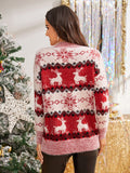Christmas & Elk Print Fuzzy Sweater