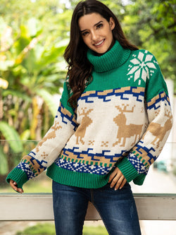 High Neck Christmas Print Jumper