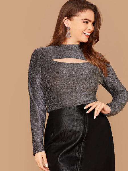 SHEIN Plus Mock Neck Cutout Front Glitter Top