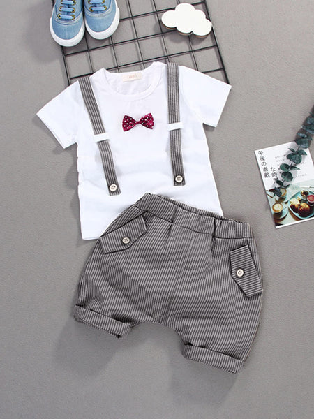 Toddler Boys Bow Front Strap Detail Tee & Striped Shorts