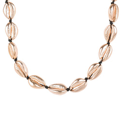 Cowrie Shell Choker Strand Necklace Rose Gold