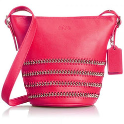 Coach Leather Chain Laced Duffel - Pink Ruby
