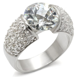 High-Polished 925 Sterling Silver Ring with AAA Grade CZ in Clear