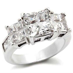 22725 - 925 Sterling Silver Ring High-Polished Women AAA Grade CZ Clear