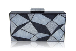 Black 3D Geometric Acrylic Box Clutch-Milanblocks