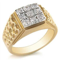 Brass Ring Gold+Rhodium Men AAA Grade CZ Clear