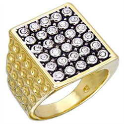 2W079 - Brass Ring Gold+Rhodium Men Top Grade Crystal Clear