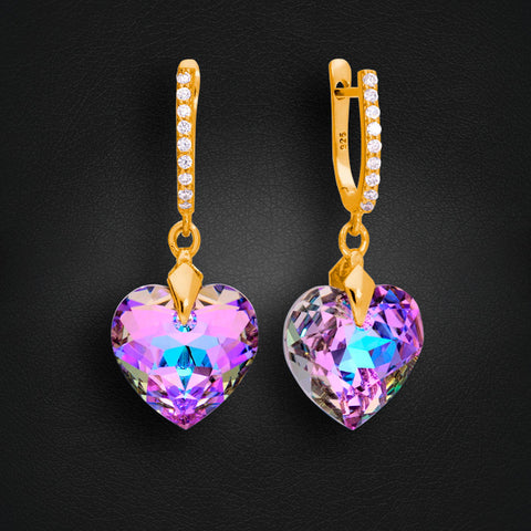 "925 Sterling Silver earrings ""Romantic Heart III (Vitrail Light)"" with Crystals From Swarovski™"