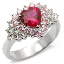 35701 - 925 Sterling Silver Ring High-Polished Women Synthetic Ruby
