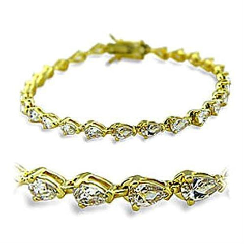 415804 Gold Brass Bracelet with AAA Grade CZ in Clear