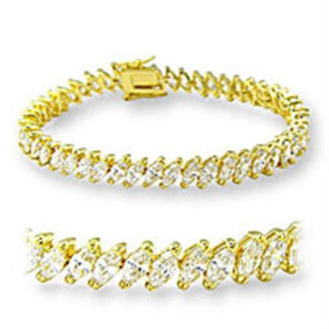 47105 Gold Brass Bracelet with AAA Grade CZ in Clear