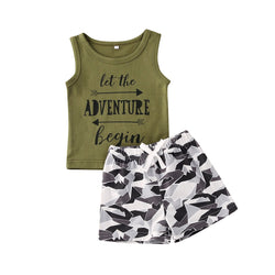 5 Style 0-24M Infant Baby Boys Clothes Sets Cartoon Animal Print Sleeveless Vest Tops+Summer Shorts 2pcs