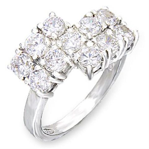 50117 High-Polished 925 Sterling Silver Ring with AAA Grade CZ in Clear