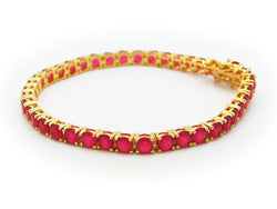 Fronay Co .925 Sterling Silver Imitation Ruby Tennis Bracelet dipped in 18k Gold, 7""