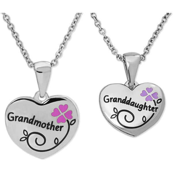 Girls' Stainless Steel Grandmother/Granddaughter Breakaway Pendant Set