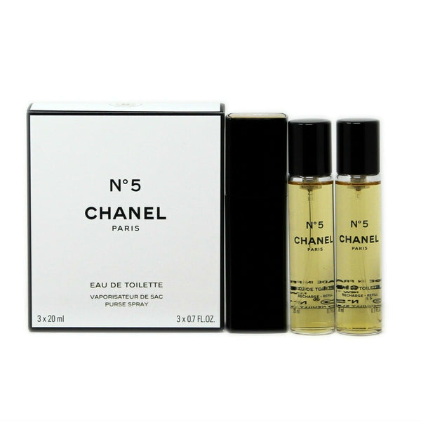 CHANEL NO 5 EAU DE TOILETTE PURSE SPRAY 3x20 ML/3x0.7 FL.OZ. NIB