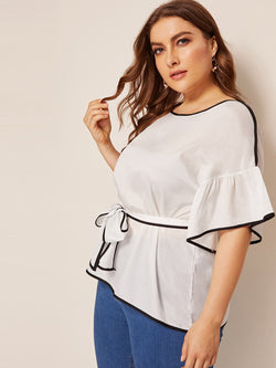 Plus Contrast Binding Trim Belted Waist Blouse