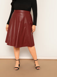 Plus High Waist PU Skirt