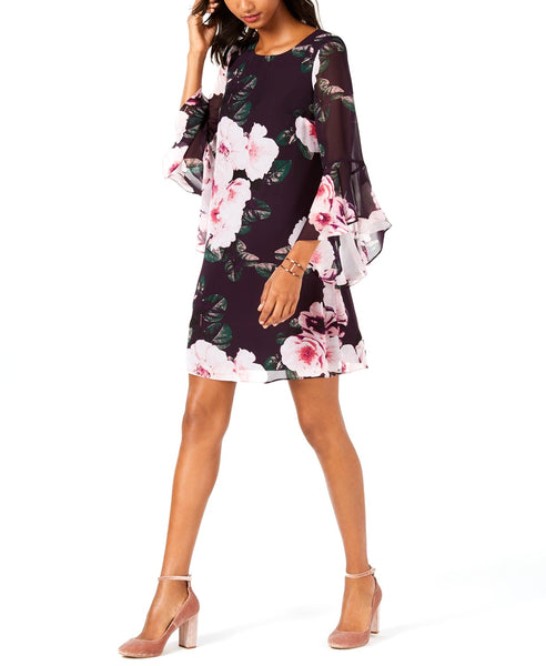 Nine West | Floral Bell-Sleeve Shift Dress | Purple