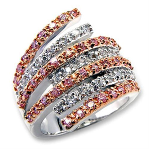 60207 Rose Gold + Rhodium Brass Ring with AAA Grade CZ in Rose