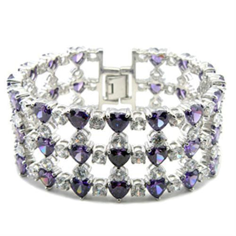 62204 Rhodium Brass Bracelet with AAA Grade CZ in Amethyst