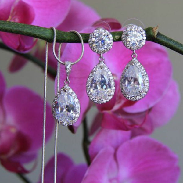 925 Silver Diamond Earrings Necklace