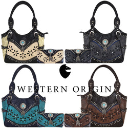 Leather Laser Cut  Country Western Handbag and Wallet