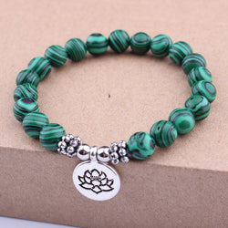 Natural Stone Lotus Flower Bracelet Charm
