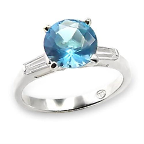 6X065 High-Polished 925 Sterling Silver Ring with Synthetic in Sea Blue