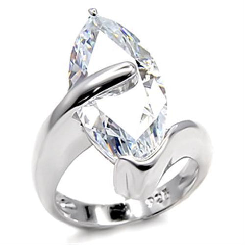6X516 Rhodium 925 Sterling Silver Ring with AAA Grade CZ in Clear
