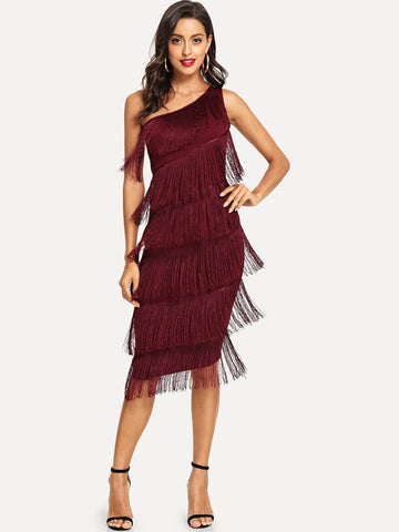 One Shoulder Tiered Fringe Detail Dress