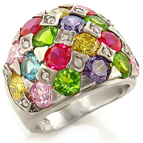 7X150 Rhodium Brass Ring with AAA Grade CZ in Multi Color