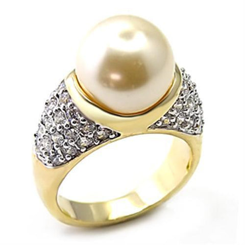7X216 Gold+Rhodium 925 Sterling Silver Ring with Synthetic in White