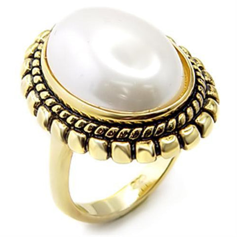 7X232 Gold 925 Sterling Silver Ring with Synthetic in White