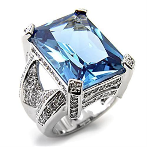7X315 Rhodium 925 Sterling Silver Ring with AAA Grade CZ in London Blue