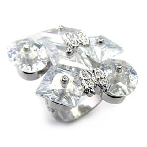 7X350 Rhodium 925 Sterling Silver Ring with AAA Grade CZ in Clear