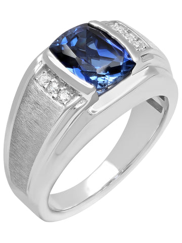 Men's Sterling Silver Created Blue and White Sapphire Ring - Mens Ring