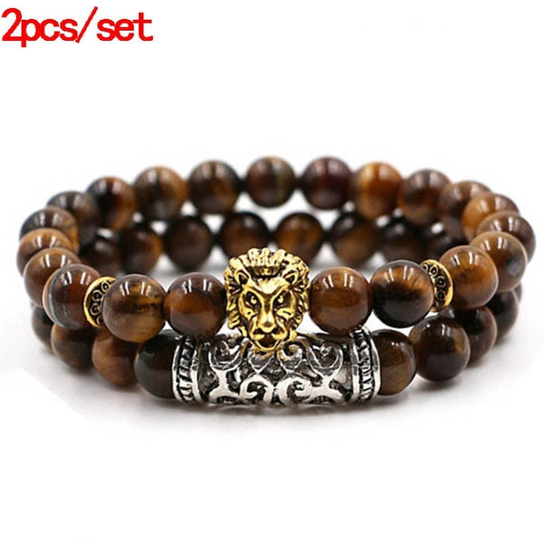 Gold Lion Natural Stone Lava Tiger Eye Set for Men Women