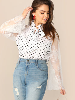 Plus Frill Tie Neck Lace Sleeve Polka Dot Blouse