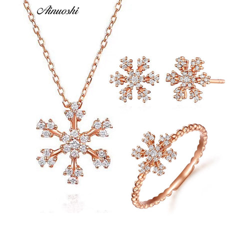 Real Diamond Snowflake  18K Solid Rose Gold